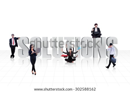 The word SOLUTIONS surround with business people isolated on white