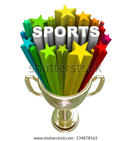 The word Sports in a starburst in a gold trophy to symbolize winning, champion, athletes and physical activity