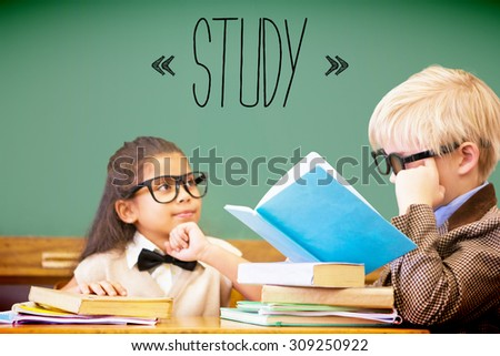 The word study against cute pupils dressed up as teachers in classroom - stock photo