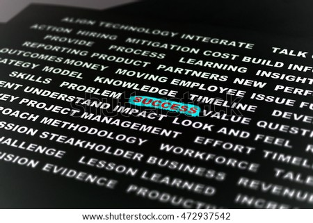 The word SUCCESS highlighted with translucent marker. Concept of Success, Project Management, Business.
