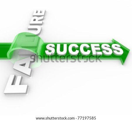 The word Success jumping over the word Failure on top of an arrow, symbolizing the overcoming of an obstacle and achieving your goals - stock photo