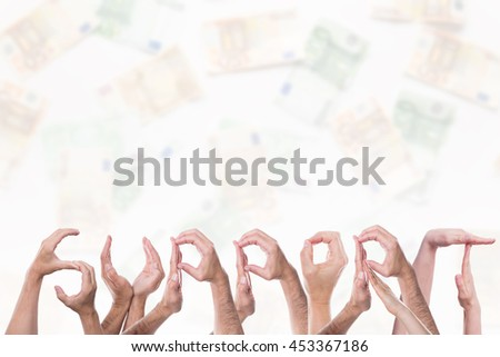 The word support in front of a lot Euros - stock photo