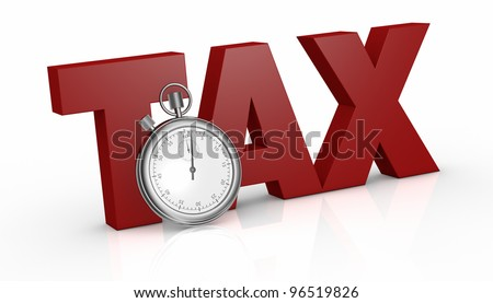 the word tax with a stopwatch on front of it (3d render) - stock photo