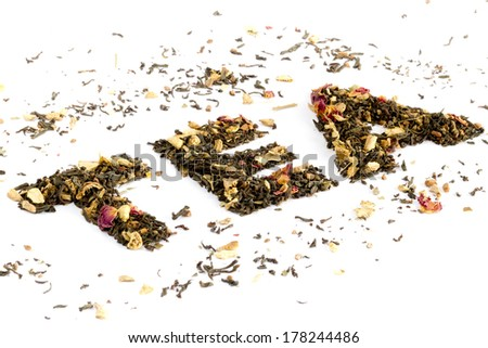 The word tea spelled with tea - stock photo