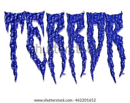 The word terror made out of hundreds of little skulls concept for deadly events 3D illustration