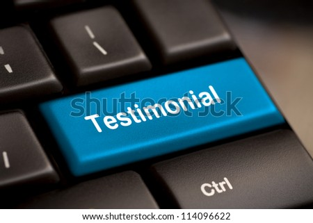 The word Testimonial on return key of keyboard. - stock photo