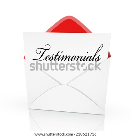 the word testimonials on a card in an envelope  - stock photo