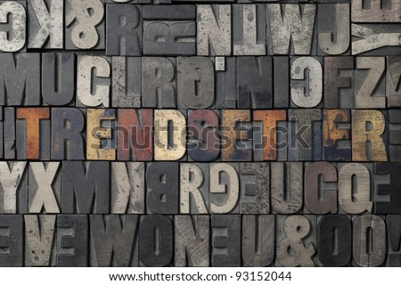 The word Trendsetter written out in old letterpress blocks. - stock photo