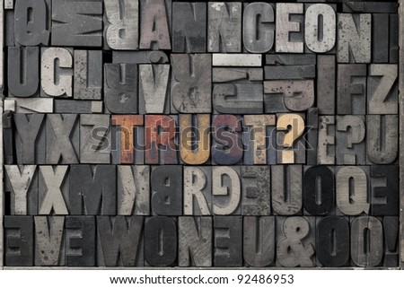The word trust? written out in old letterpress blocks. - stock photo
