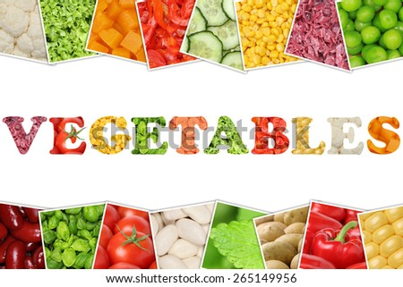The word Vegetables with tomatoes, paprika, lettuce, potatoes, beans and cucumber - stock photo