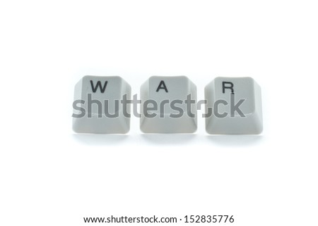 the word war spelled on keyboard keys isolated on a white background - stock photo