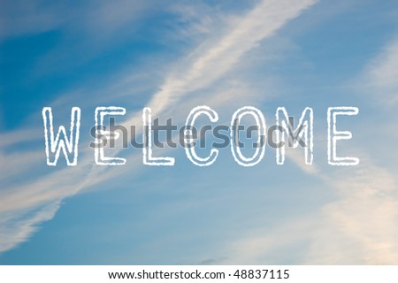 The word welcome written with cloud letters against a blue sky. - stock photo
