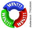 The word Win repeated on three colored arrows in a circular pattern, motivating people to do their best and be successful in a game or in life - stock photo