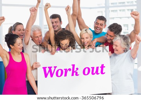 The word work out and excited people holding blank billboard at gym against white angular design - stock photo