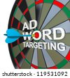 The words Ad Targeting with a dart in the middle of Word to symbolize online pay-per-click also known as ppc advertising in search engines to drive clicks and traffic to your website - stock vector