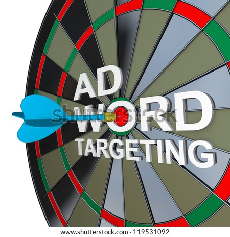 The words Ad Targeting with a dart in the middle of Word to symbolize online pay-per-click also known as ppc advertising in search engines to drive clicks and traffic to your website - stock photo