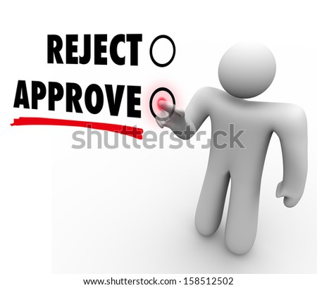 The words Approve and Reject on a voting touch screen, with a voter pressing a button for approval of a proposal or question
