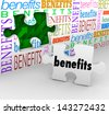 The words Benefits on a wall with a hole and a puzzle piece to illustrate features and unique selling points of a product or valuable fringe benefits in your compensation - stock