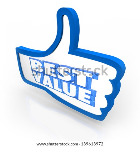 The words Best Value in a thumb's up symbol to illustrate the top score, rating or quality review for a product or service in comparison with other competing products - stock photo