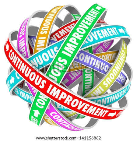 The words Continuous Improvement on circular ribbons in an everlasting pattern to illustrate everlasting change and innovation to better yourself, company or organization - stock photo
