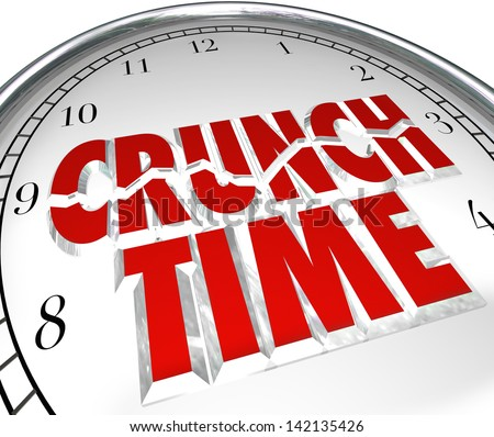 The words Crunch Time on a clock to illustrate a rush to beat a deadline, or countdown to the final moments of a race or other competition you want to win - stock photo