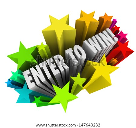 The words Enter to Win in a starburst of colorful fireworks to illustrate entering or winning a contest, raffle or lottery where a jackpot or money is up for grabs - stock photo