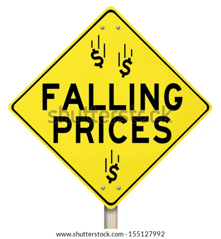 The words Falling Prices and dollar signs or symbols on a yellow warning sign to advertise reduced costs at a special clearnace sale or event - stock photo