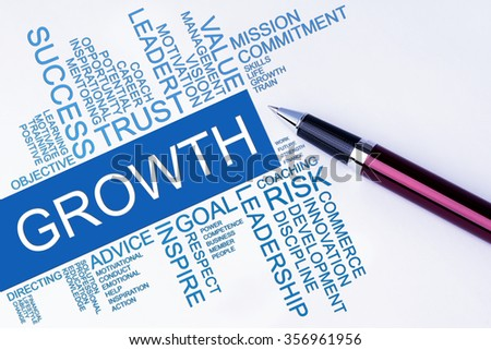 The words Growth text cloud with a pen on isolated white background. Business concept text cloud.