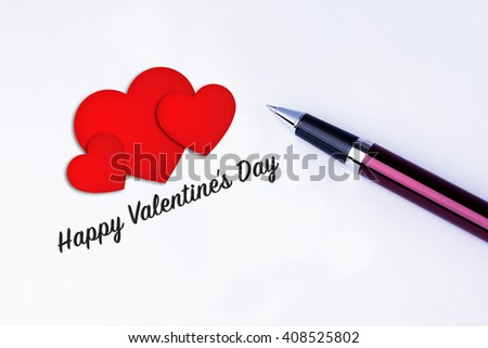 The words Happy Valentine's Day and 3 Heart Shape to remind you an important appointment with a pen on isolated white background. Valentine's Day and Love Concepts - stock photo