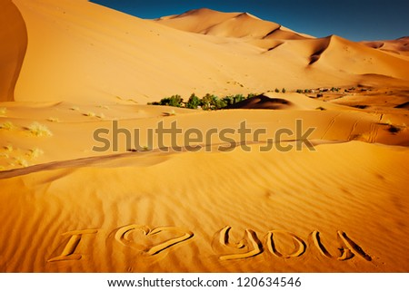 "The words ""I love you"" written in the sand dunes - stock photo"