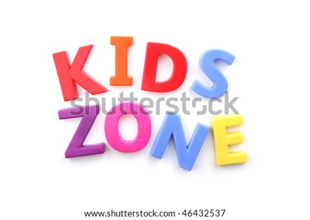 The words 'kids zone' spelled out using colored fridge magnets, isolated on white