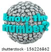 The words Know the Number on a ball or sphere of hashtags or pound signs to illustrate a customer service phone number or answer to a math question - stock photo