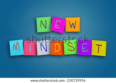 The words New Mindset written on sticky colored paper - stock photo