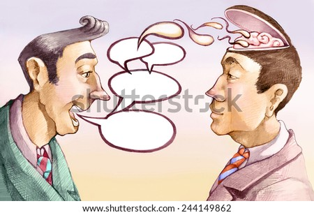 the words of a man become seeds in the mind of another - stock photo