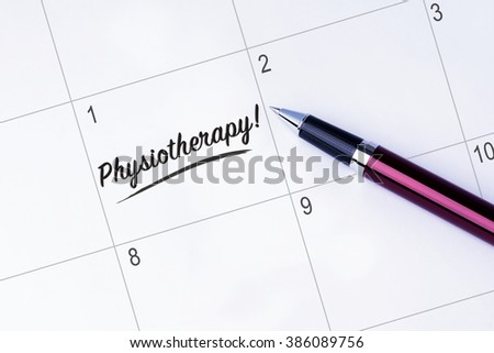 The words Physiotherapy written on a calendar planner to remind you an important appointment with a pen on isolated white background.  - stock photo