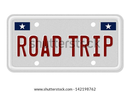 The words Road Trip on a gray license plate isolated on white, Taking a Road Trip