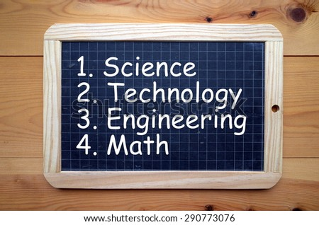 The words Science, Technology, Engineering and Math in white text on a blackboard. These are known as the STEM education subjects