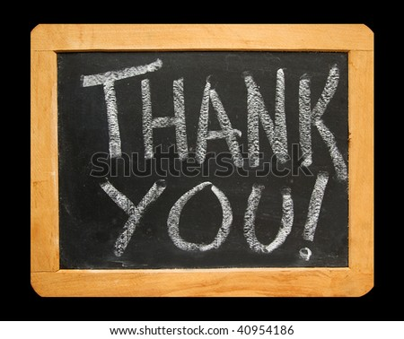 The Words Thank You on Blackboard - stock photo