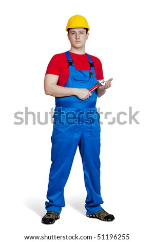 The worker in uniform and hardhat with wrench. Isolated on white.