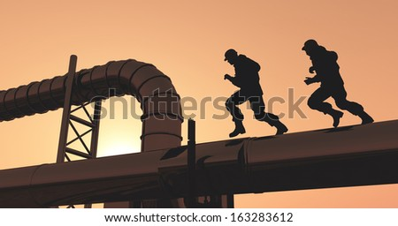 The workers run the pipe plant. - stock photo