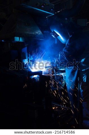 The working in Welding skill up. (Manufacturing of car)