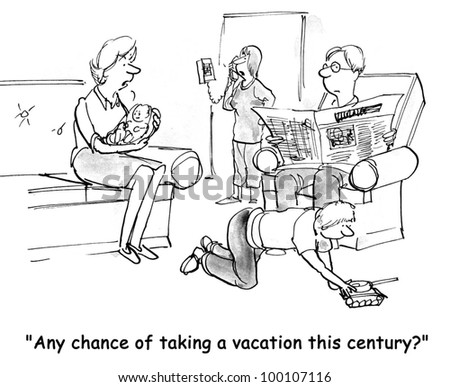 """The working woman asks her boss, """"Any chance of taking a vacation this century?"""". - stock photo"""