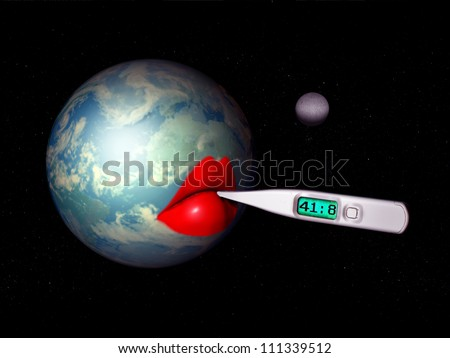 The world at measuring temperature and it has a life-threatening fever, climate change, global warming - stock photo