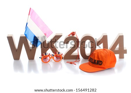 The world championship in Brazil, fan-stuff for the Netherlands - stock photo