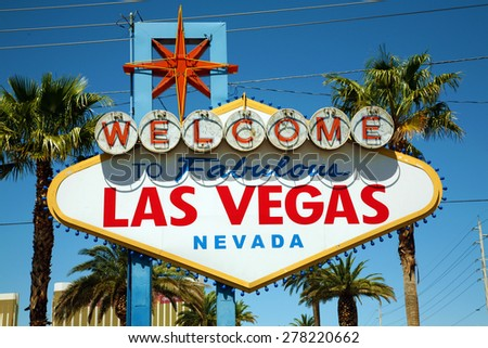 The World Famous Las Vegas Sign during the daytime. Las Vegas Nevada - stock photo