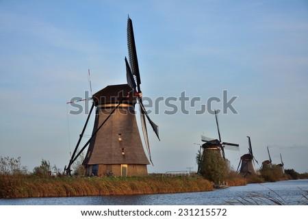 The world Heritage Kinderdijk windmills landscape at Kinderdijk, the Netherlands. - stock photo