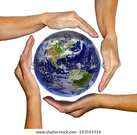 The world in hands, earth texture by NASA.gov - stock photo