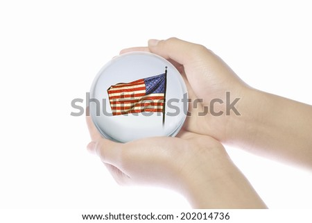 The World In The Crystal That A Child Holds - stock photo