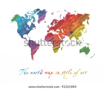 The world map in style of art. Multi-colored tones. Isolated on a white background - stock photo