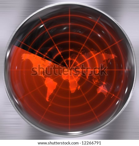 The world on a radar screen - blips can be added easily anywhere they are needed. - stock photo